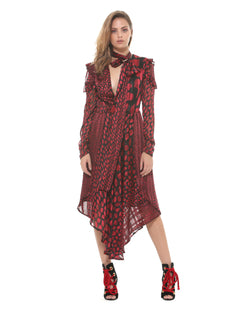 Long asymmetric pattern dress