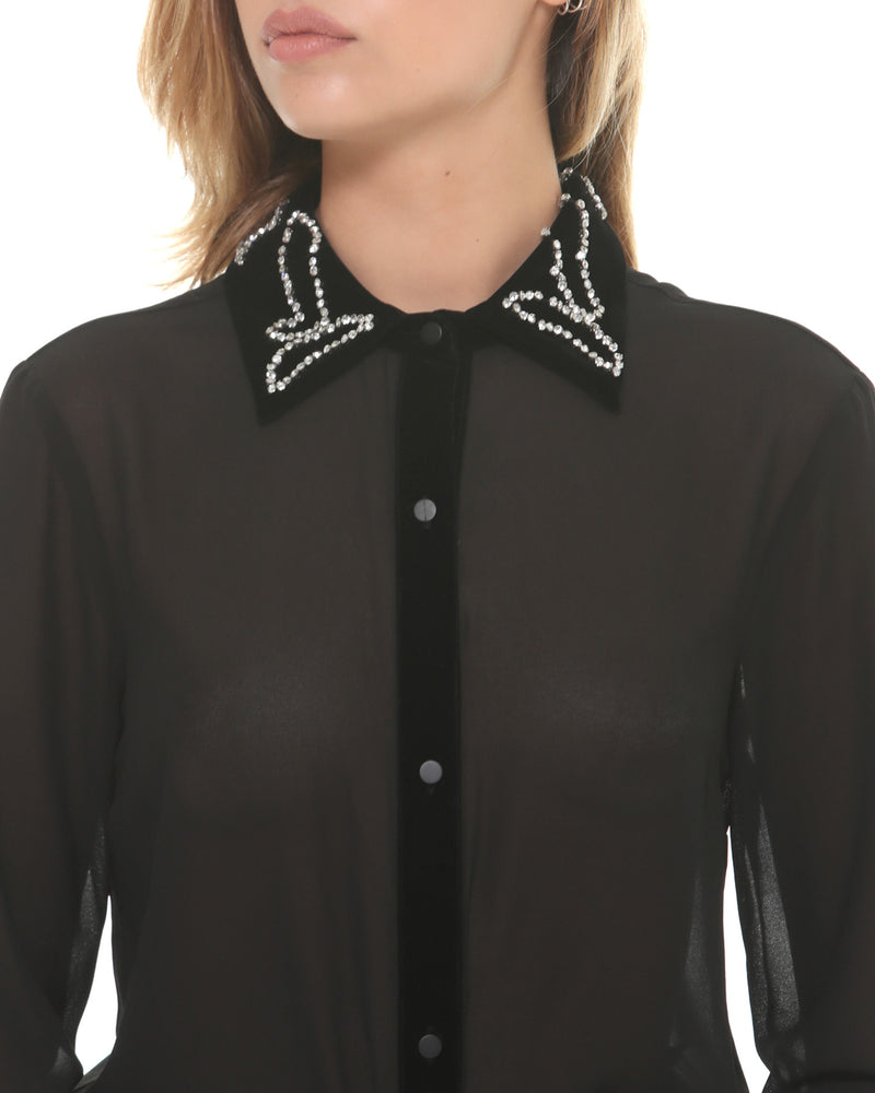 Veiled shirt rhinestones on collar