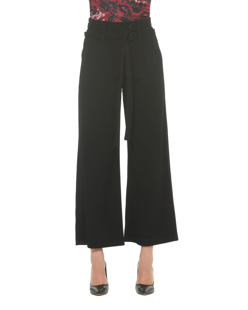 High waist cropped palazzo trousers