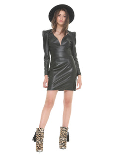 Short leatherette dress deep V-neck