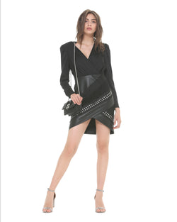 Wrap veil and leatherette dress
