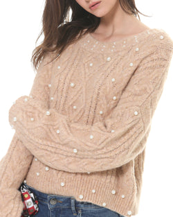 Braid sweater with pearls