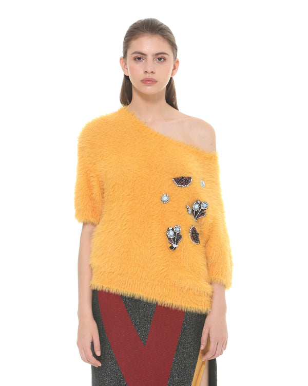 Soft sweater with patches
