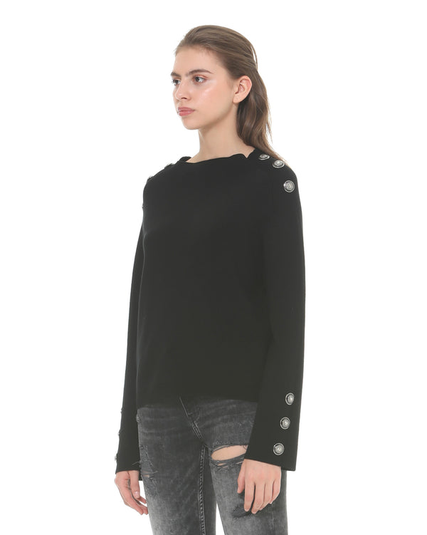 Sweater with metal buttons