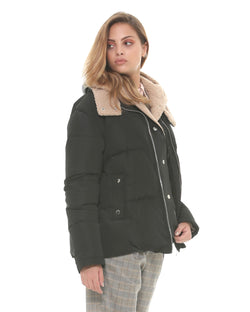 Down jacket with wide collar
