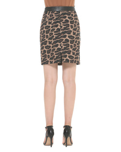 Eco-friendly leather animal print skirt