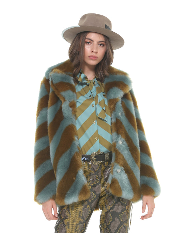 Multicolor faux-fur