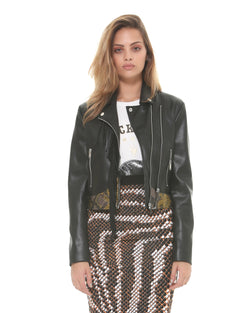 Eco-friendly leather fringe jacket