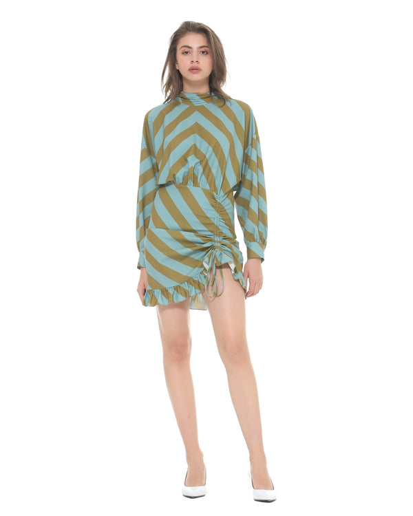 Dress with diagonal stripes