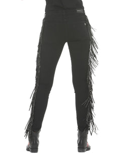 Jeans with sequin fringes