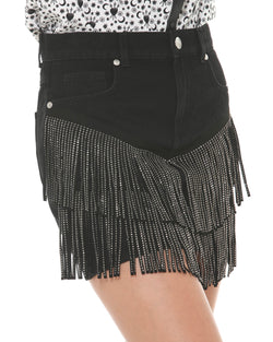 Denim miniskirt with fringes