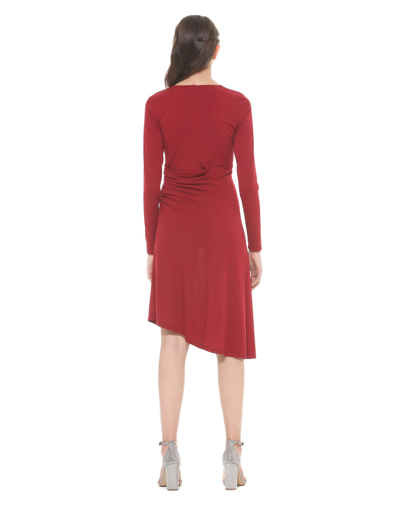 Asymmetric dress with gathered side