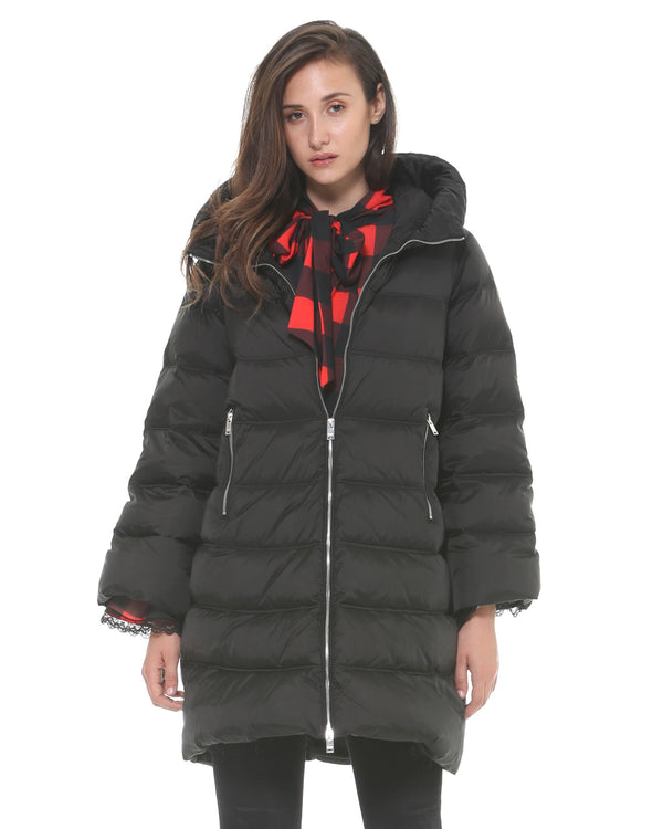Down jacket with bell sleeves
