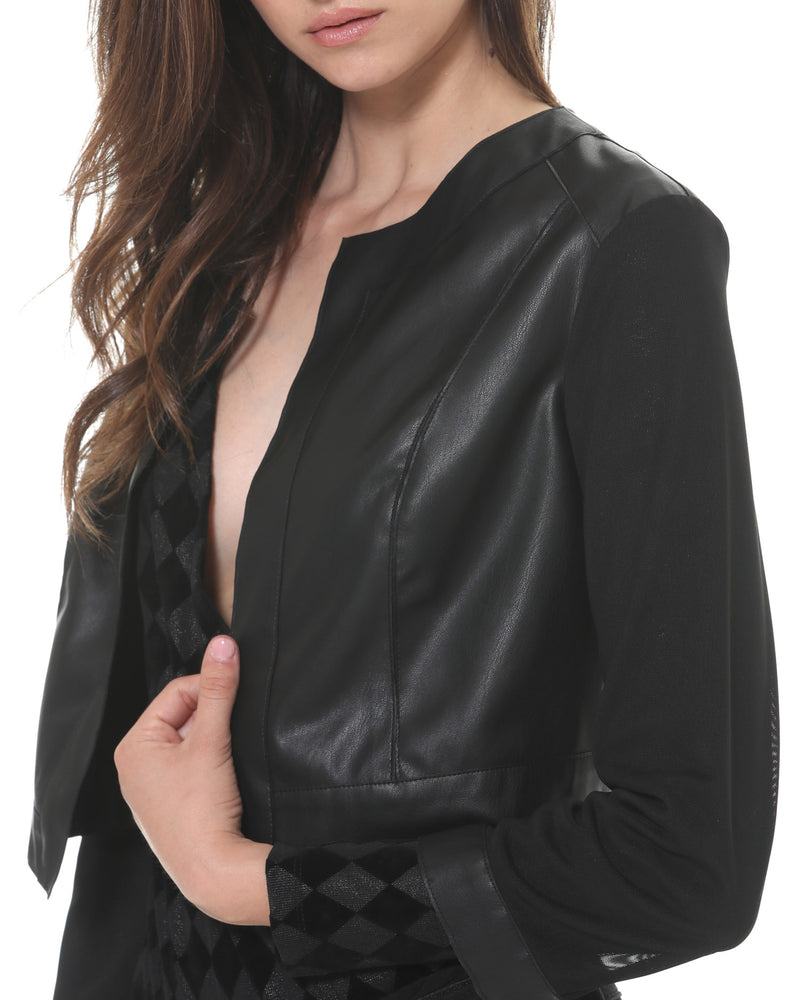 Eco-friendly leather cropped jacket