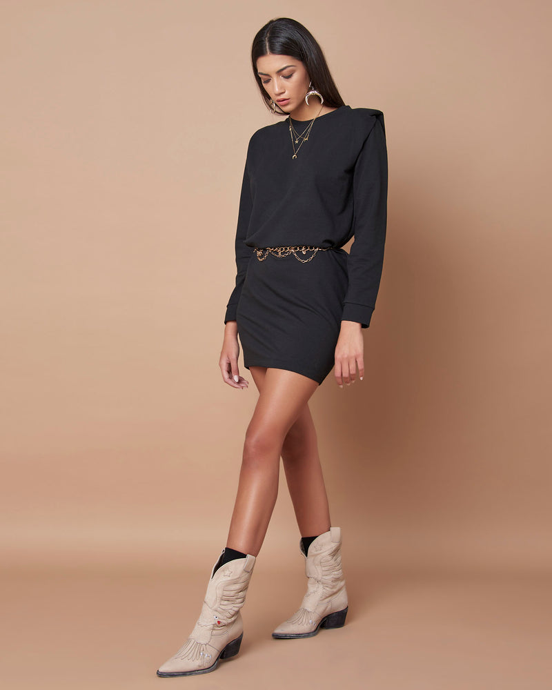Mini dress with '80 shoulder pads