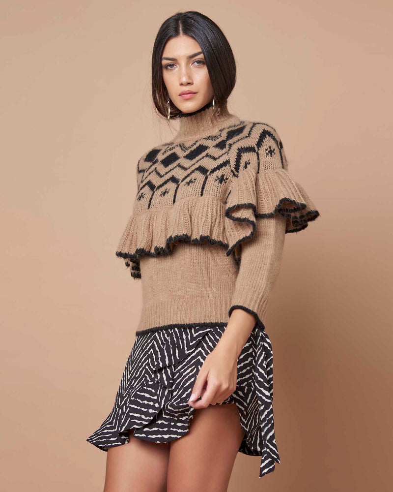 High collar sweater with flounce