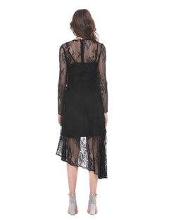Lace dress with asymmetrical end REHBAT