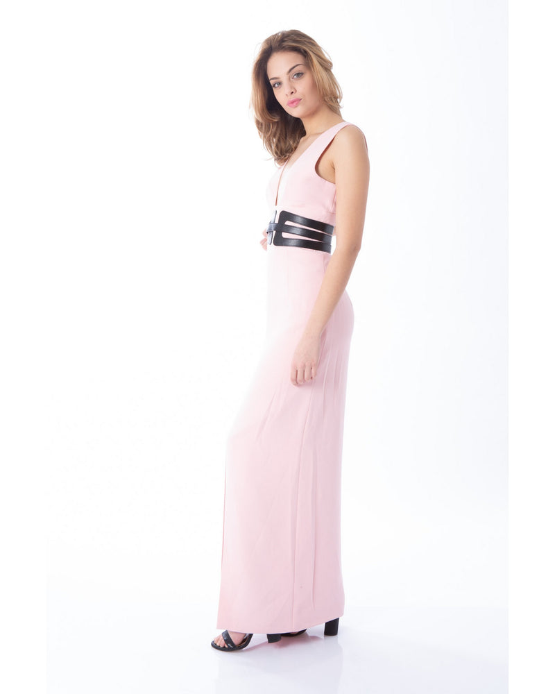 Long dress with belt BERROUAGHIA