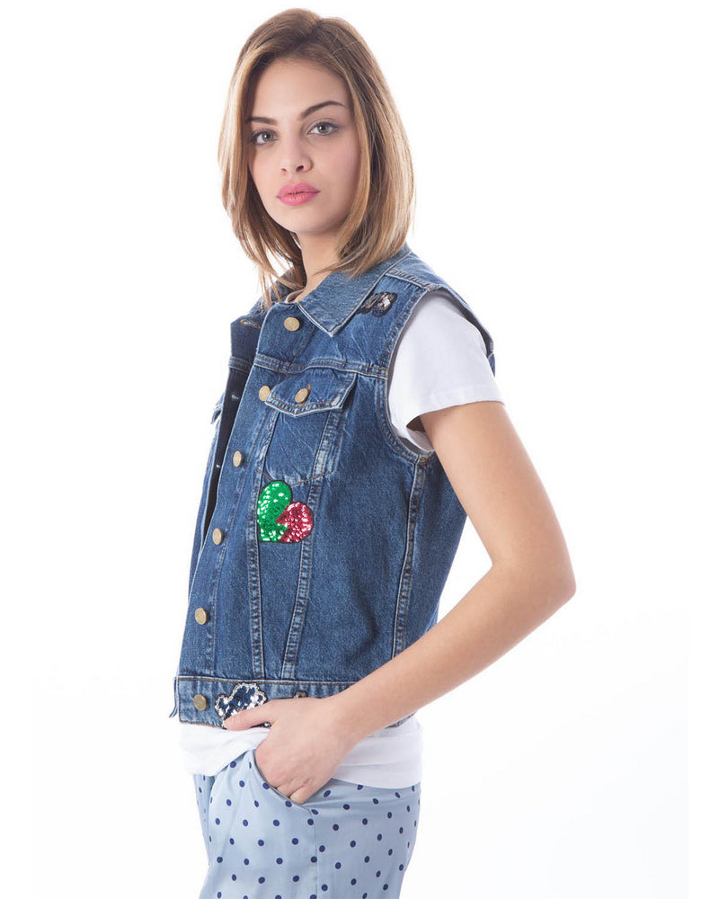 Denim gilet with patches TIGHANI