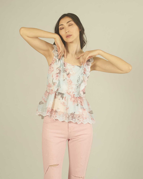 FLOWER PRINT TOP WITH SANGALLO DETALLES