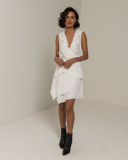 ASYMMETRIC DRESS WITH ROUCHES