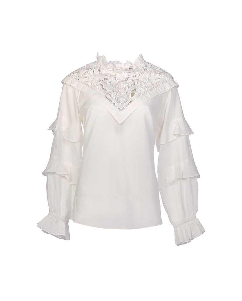 Bluse with collar lace