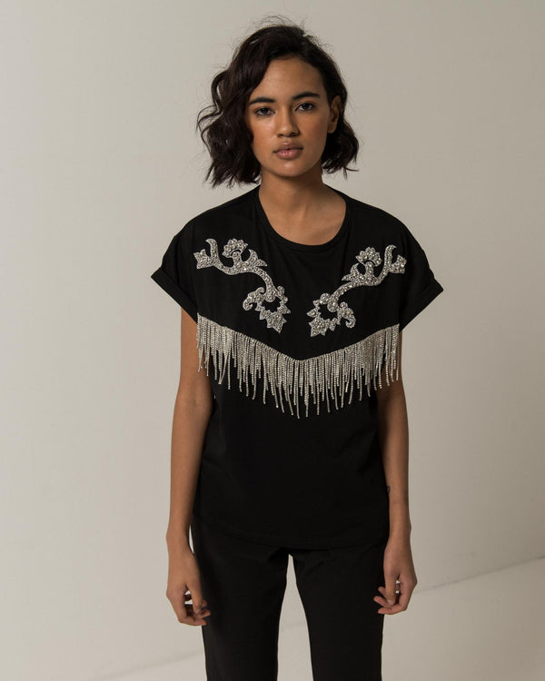 Fringed t-shirt in rhinestones