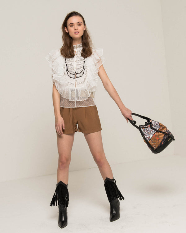 Tulle and lace blouse