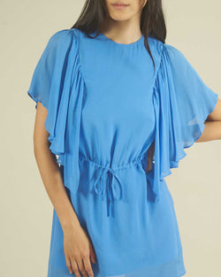 Sheath dress with ruffle sleeves