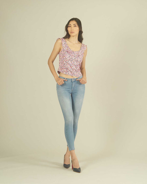 BLOUSE MULTICOLOR DEEP NECKLINE
