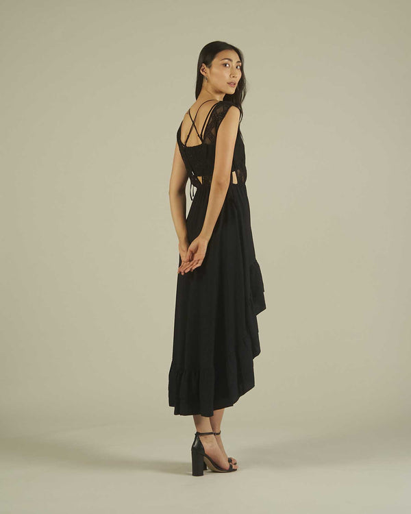 ASYMMETRIC DRESS WITH EMBROIDERED TOP