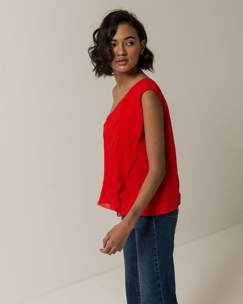 One shoulder short top