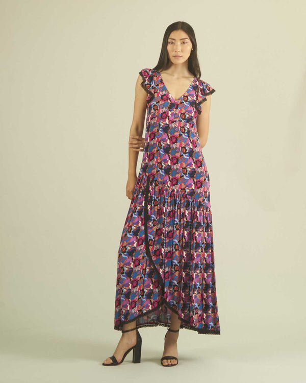 LONG DRESS MULTICOLOR LACE DETAIL