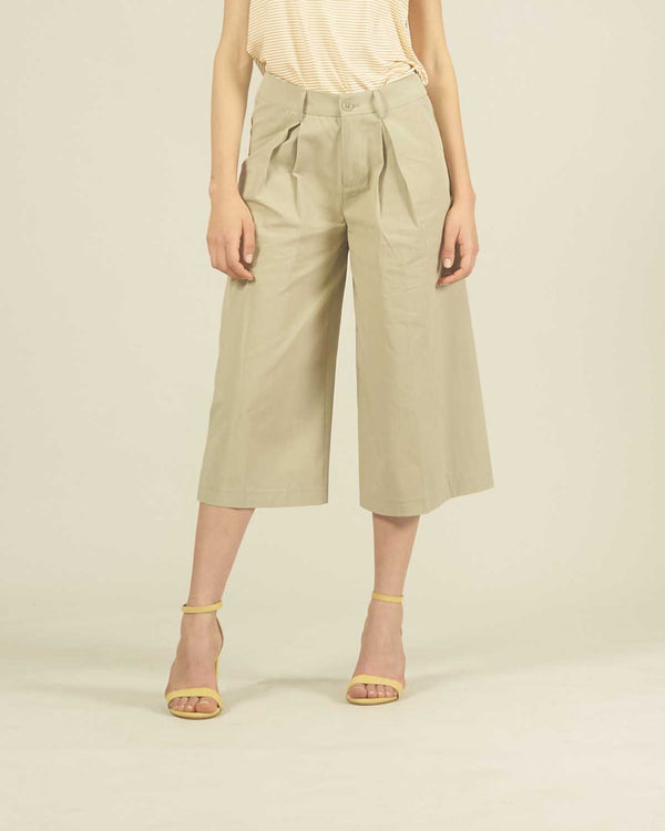CULOTTE PANTS WITH BELT AND POCHETTE