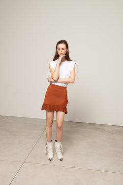 Knitted skirt with contrasting volant