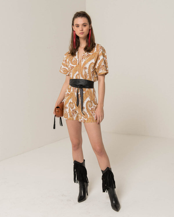 Short jumpsuit with paisley pattern