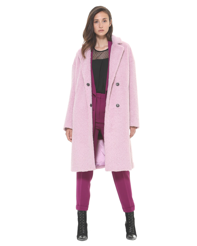 Long coat with sheep effect fabric