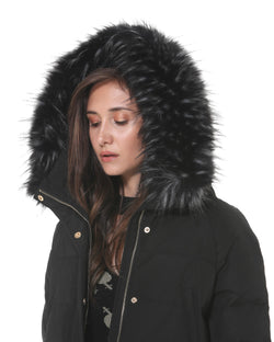 Down jacket with fur hood