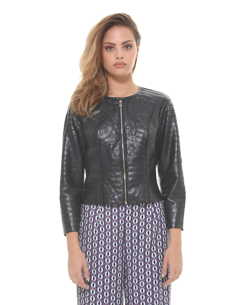 Eco-friendly leather jacket with zip closure
