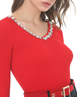 Sweater with rhinestones