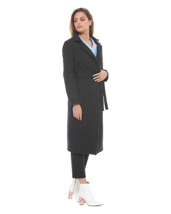 Long coat with waist belt