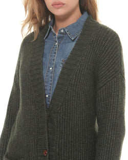 Cardigan with four-button closure