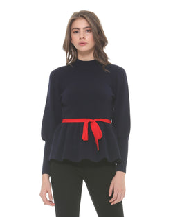 Sweater with puffed sleeves