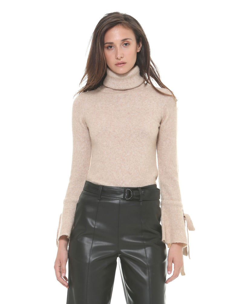 Turtleneck with bow cuffs