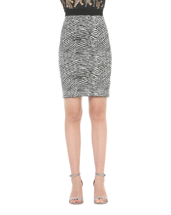 Zebra high-waisted pencil skirt