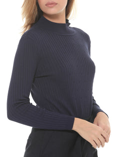 Ribbed sweater medium collar