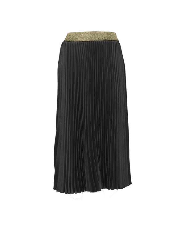 Longuette pleated skirt glitter waistband