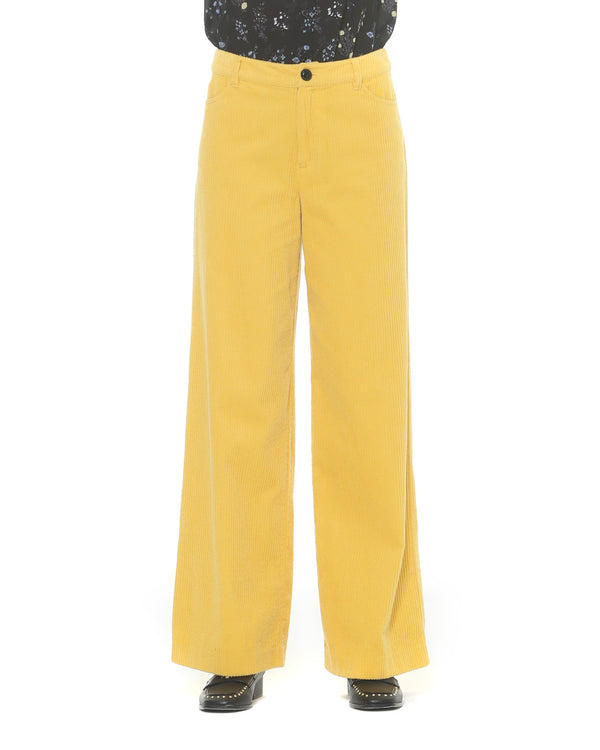 Straight ribbed trousers