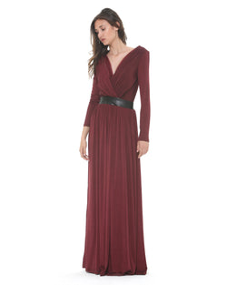 Long dress crossed neckline