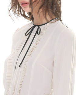 Pleated ruche blouse